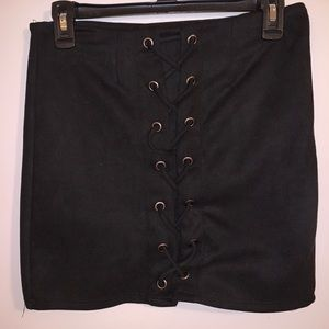 Black laced front skirt